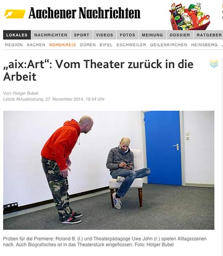 Ausschnitt Aachener Zeitung über aix:Art
