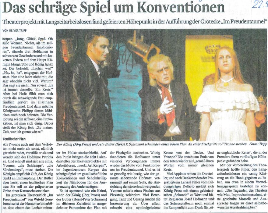 Kölner Stadtanzeiger über Theaterpremiere work:ART Kerpen